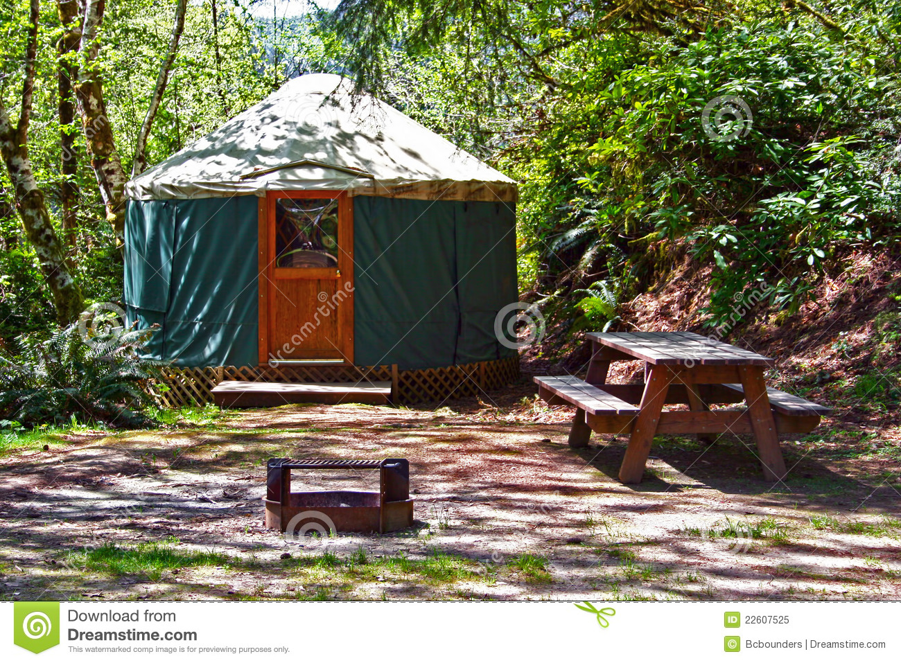 Picnic Time Chairs Yurt Camping In The Woods Royalty Free Stock Photo - Image ...