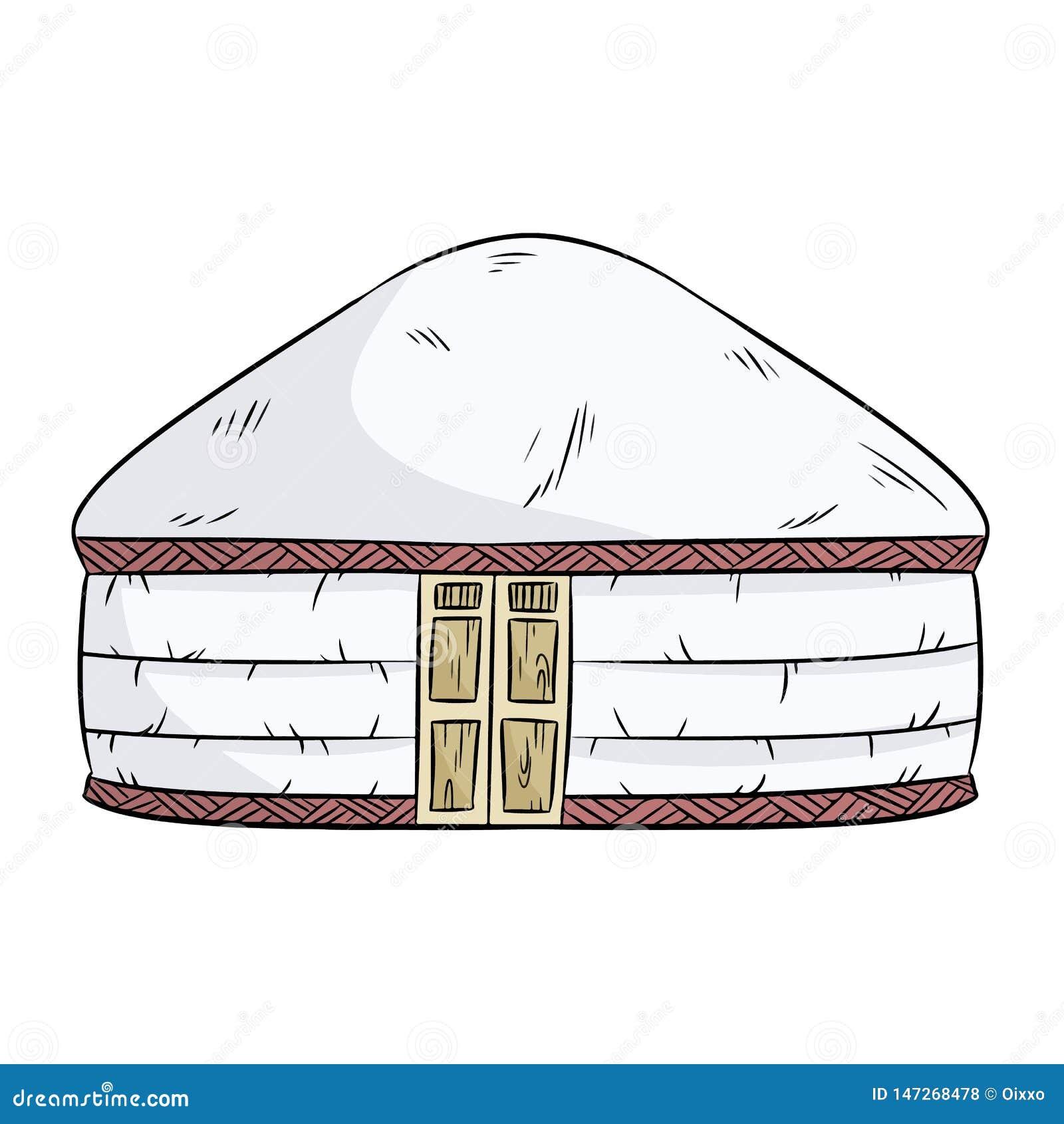 Yurta koczownicy Turczynka koczownika jurty domu namiotowa ilustracja