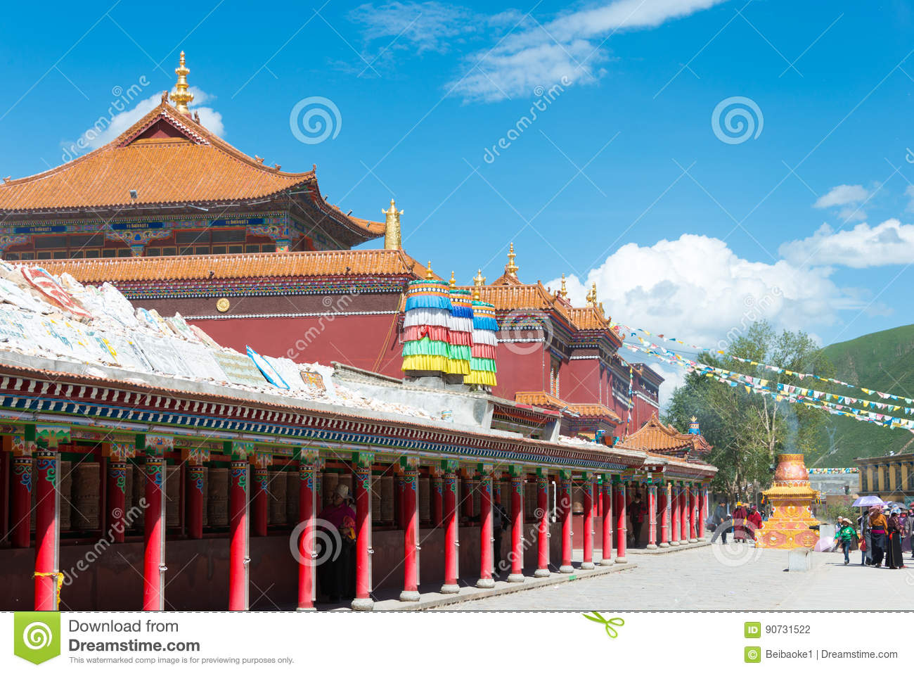 YUSHU(JYEKUNDO), CHINA - Jul 12 2014: Mani Temple(Mani Shicheng). a famous landmark in the Tibetan city of Yushu, Qinghai, China.