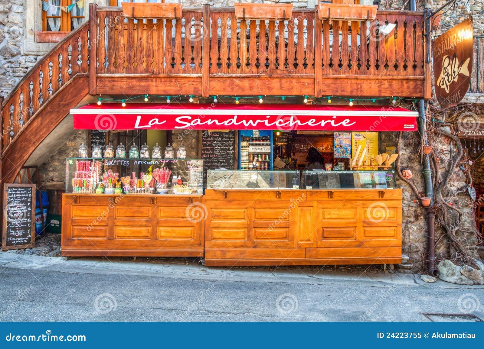 Yvoire, France - tenda do sanduíche
