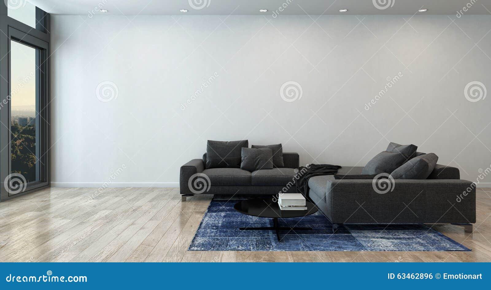 Żywy pokój z Szarą kanapą w Nowożytnym mieszkaniu