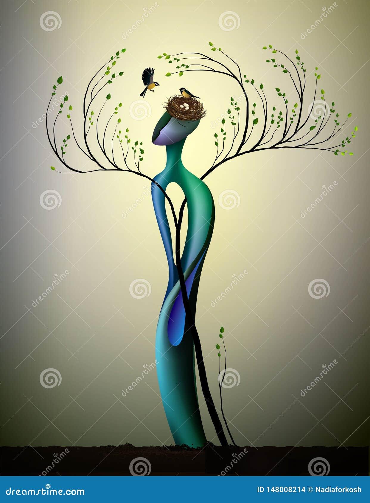 ?ywy szcz??liwy wiosny drzewo z titmouses ptaki, poj?cie szcz??liwy drzewo, drzewna dusza, m??czyzna jak u?miech ptak, bajka wewn