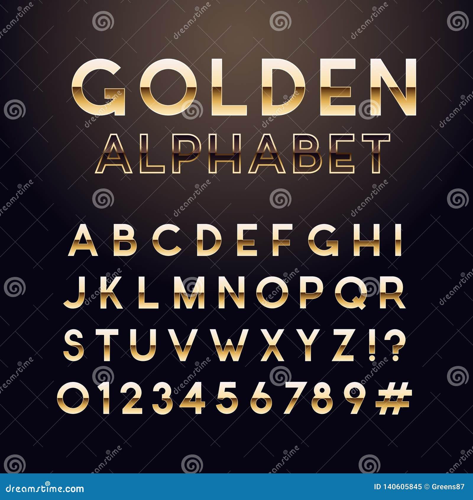 Złota glansowana chrzcielnica Angielski abecadło i liczba znak