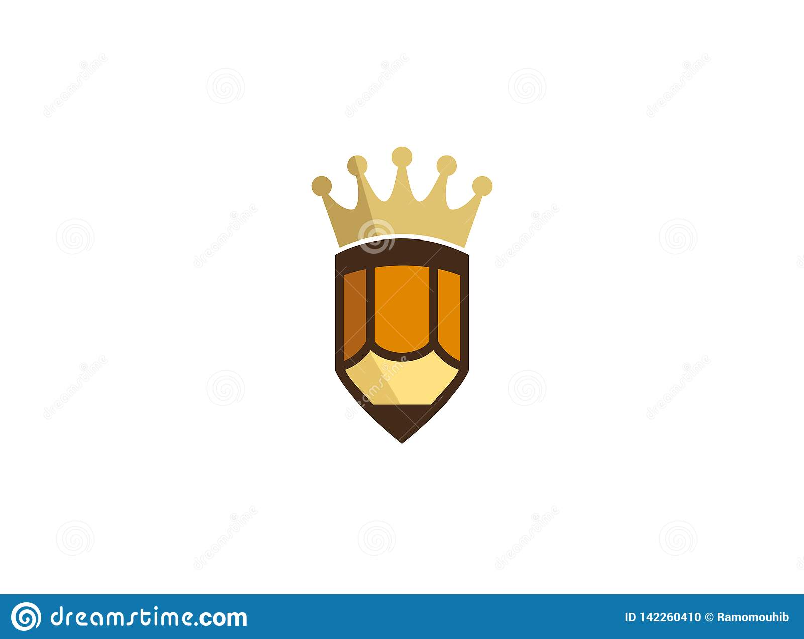 Złota korona na małym pióro logo