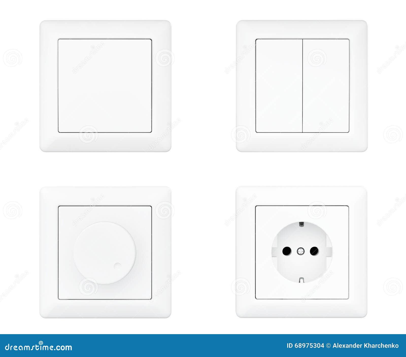 Zócalo de poder, amortiguador y interruptores de la luz fijados