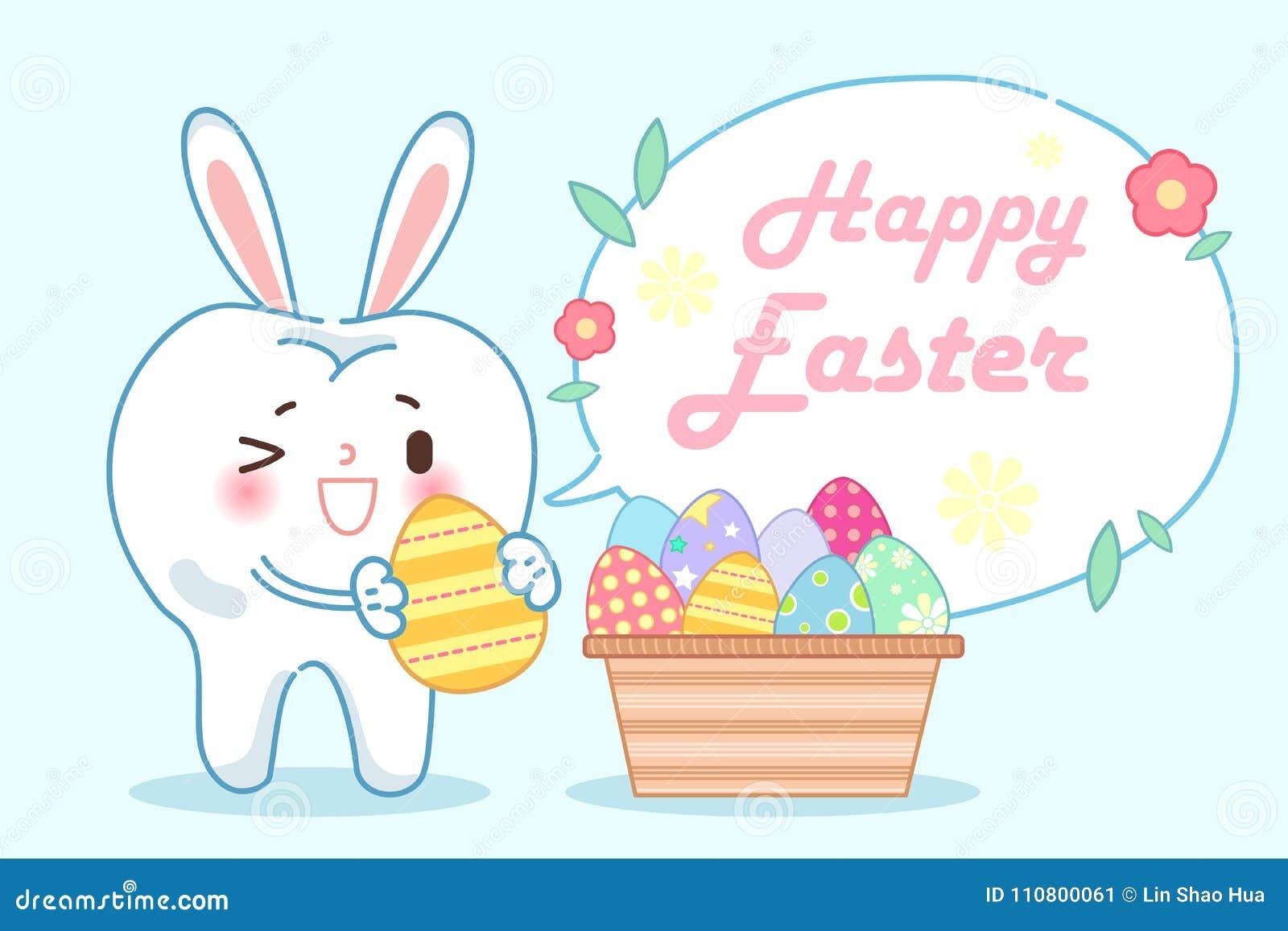 Ząb z szczęśliwym Easter