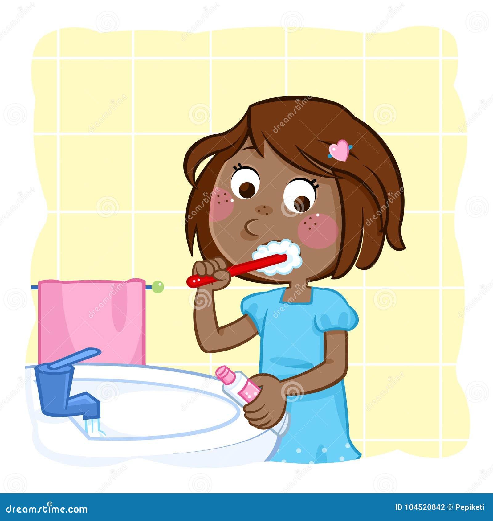 Zębu szczotkować - mała czarna dziewczyna z ciemnego brązu włosy w łazience