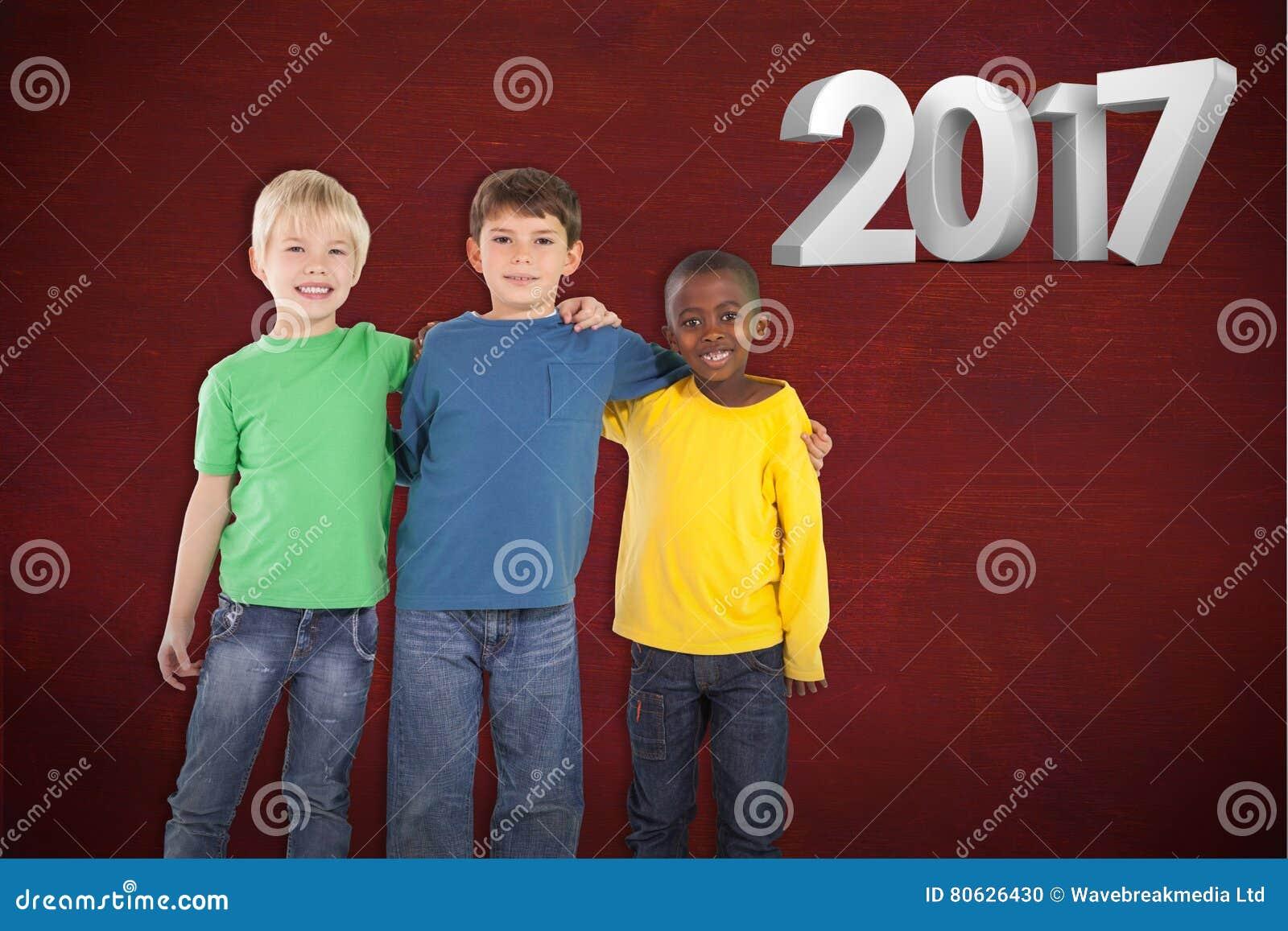 Złożony wizerunek śliczny dzieciaków ono uśmiecha się