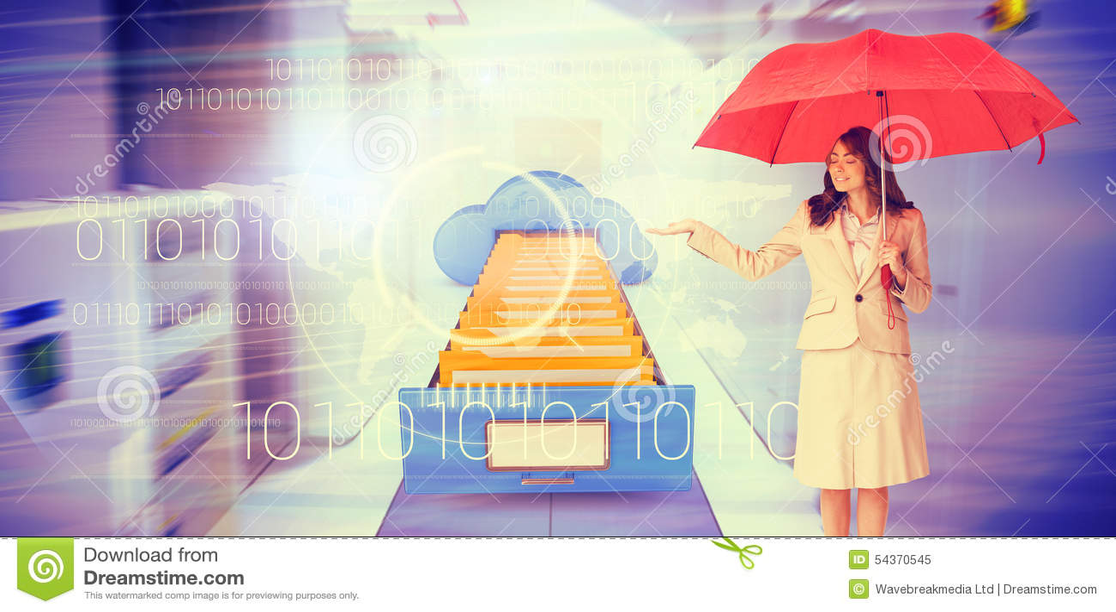 Złożony wizerunek atrakcyjny bizneswomanu mienia czerwieni parasol