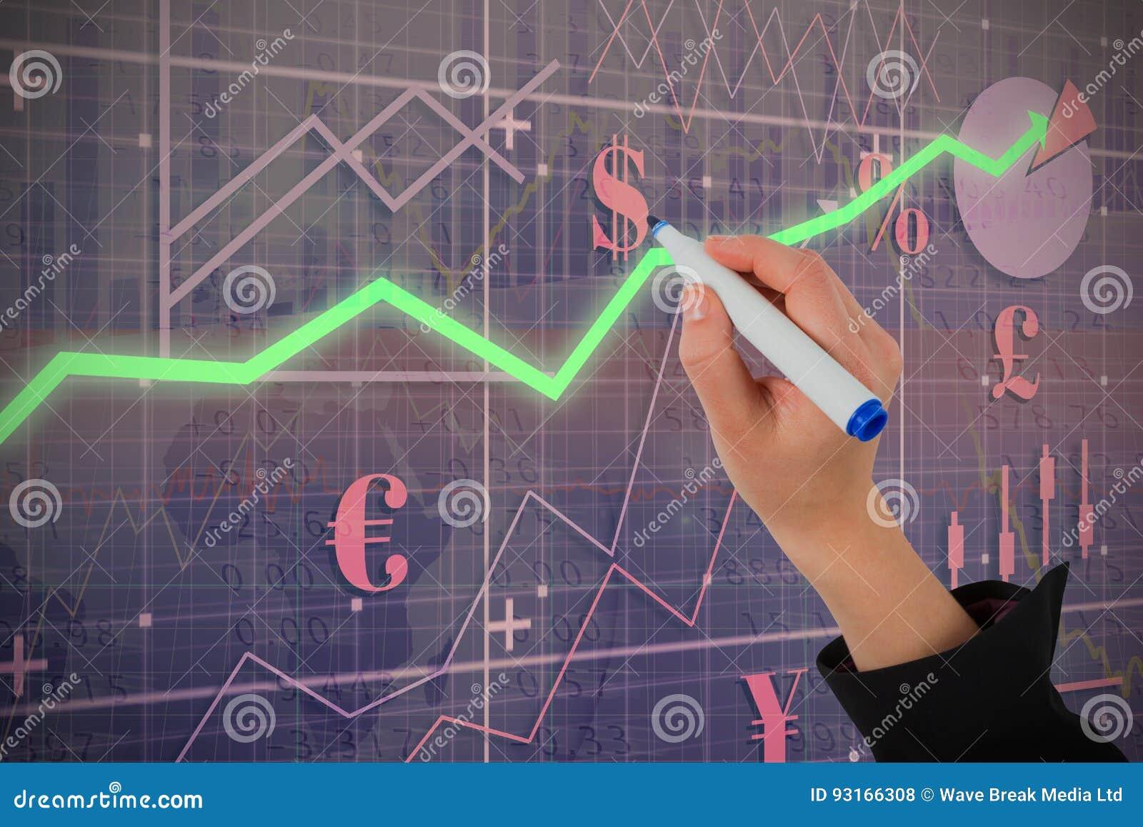 Złożony wizerunek businesswomans wręcza writing z markierem