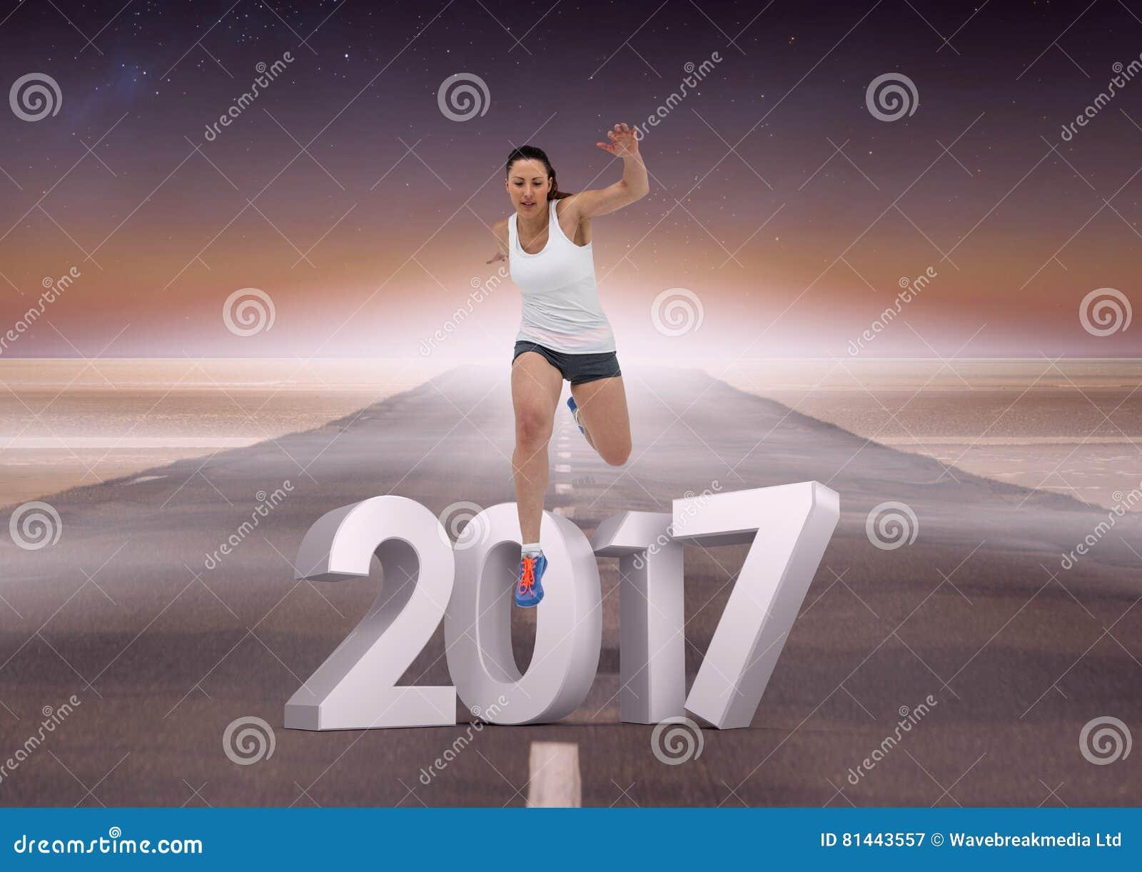 Złożony wizerunek 3D 2017 z sport dziewczyny bieg na drodze