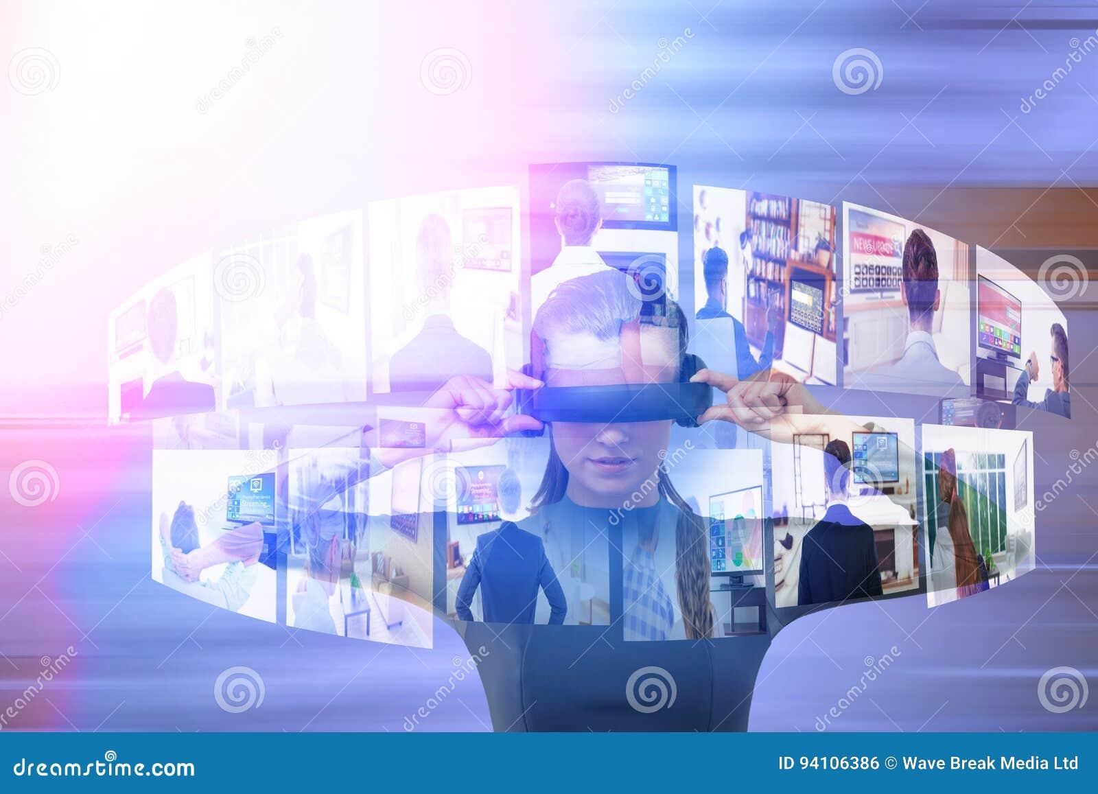 Złożony wizerunek doświadcza rzeczywistość wirtualna symulanta młoda kobieta