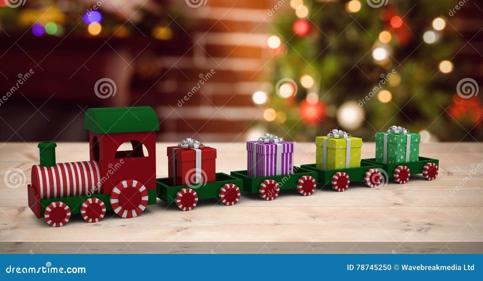Złożony wizerunek pociągu modela przewożenia prezenta pudełka