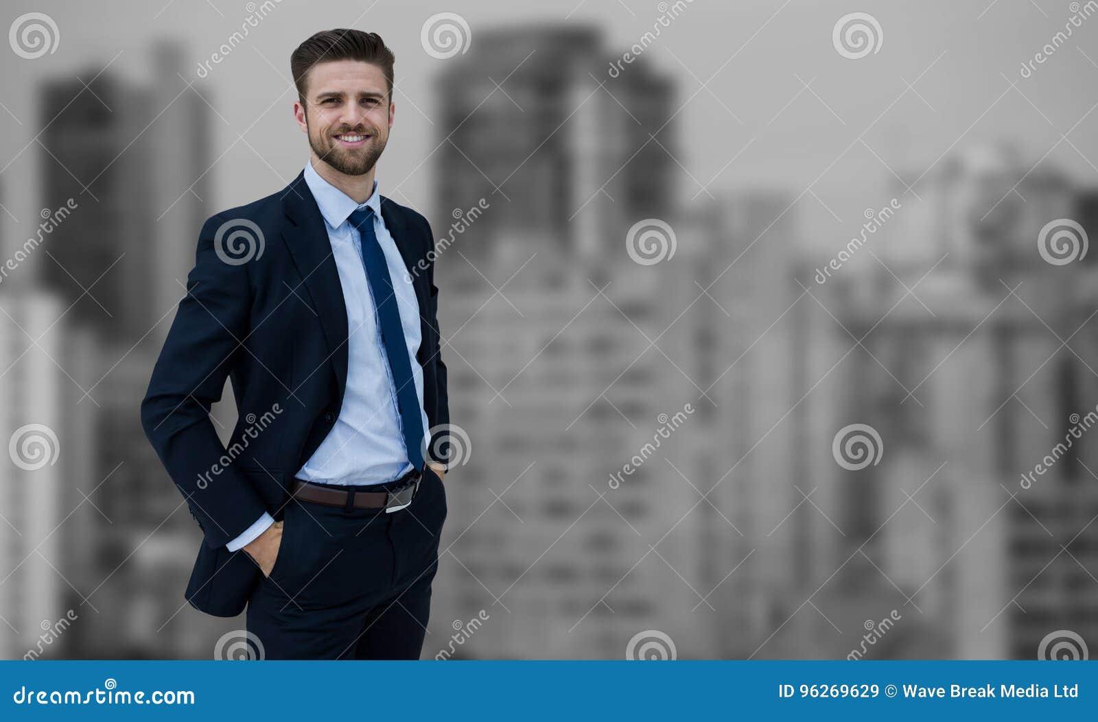 Złożony wizerunek portret biznesmen pozycja z rękami w kieszeniach
