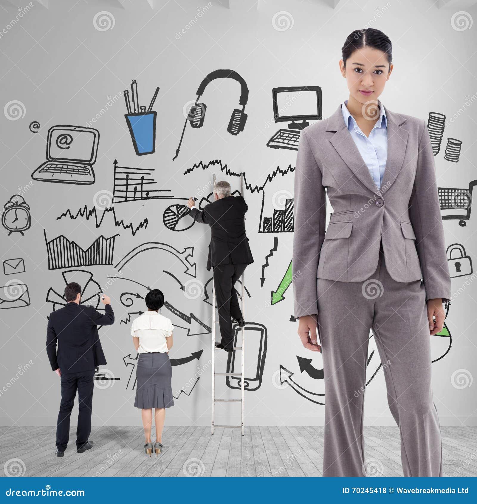 Złożony wizerunek portret brunetka bizneswomanu pozować