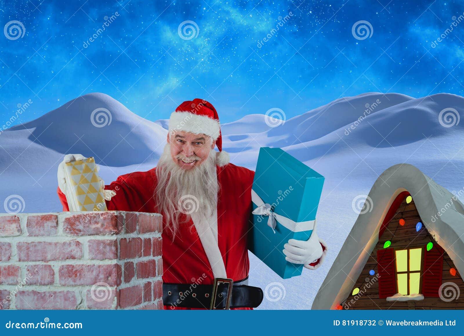 Złożony wizerunek portret umieszcza prezentów pudełka w komin Santa Claus