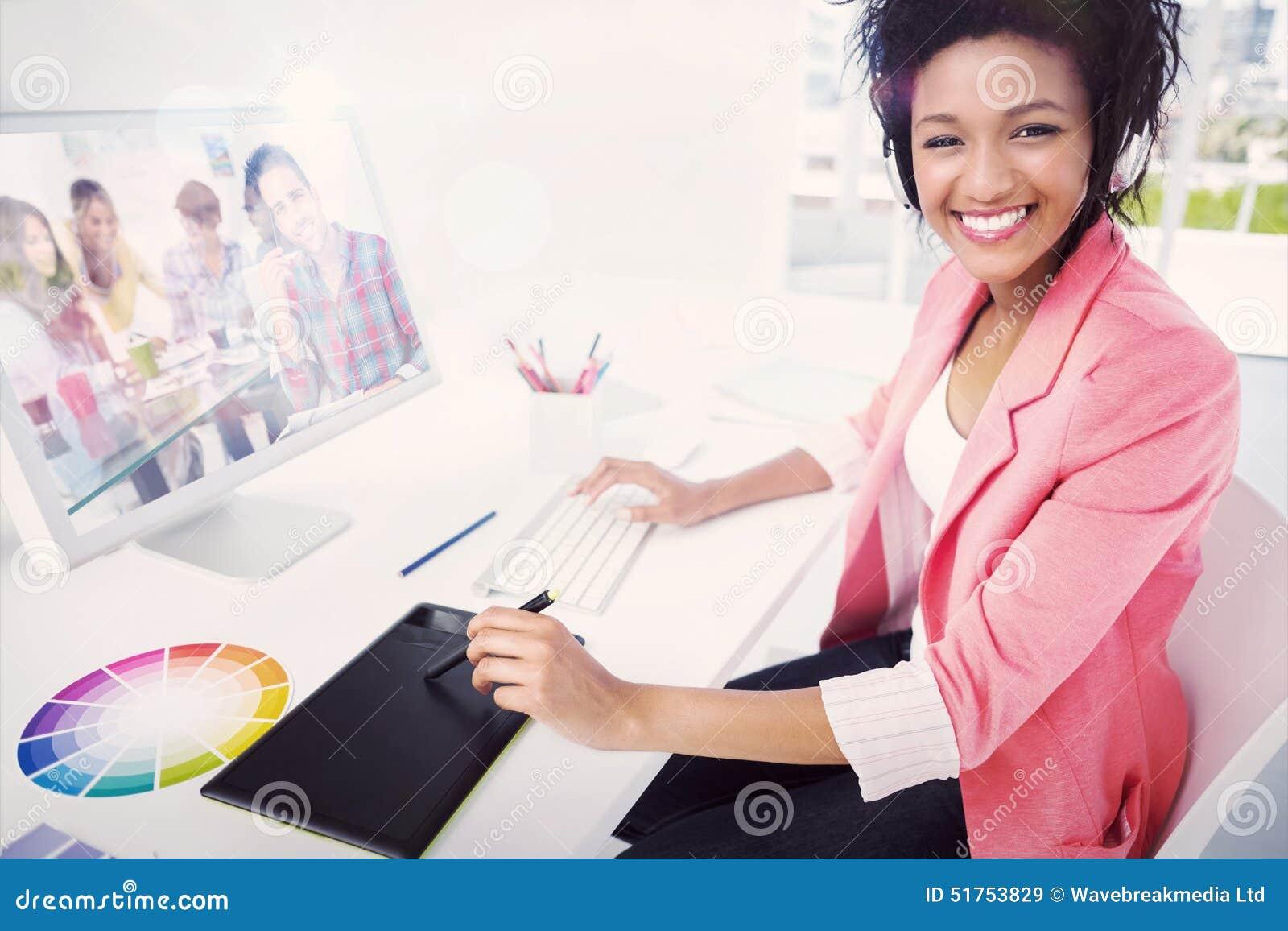 Złożony wizerunek przypadkowy żeński fotografia redaktor