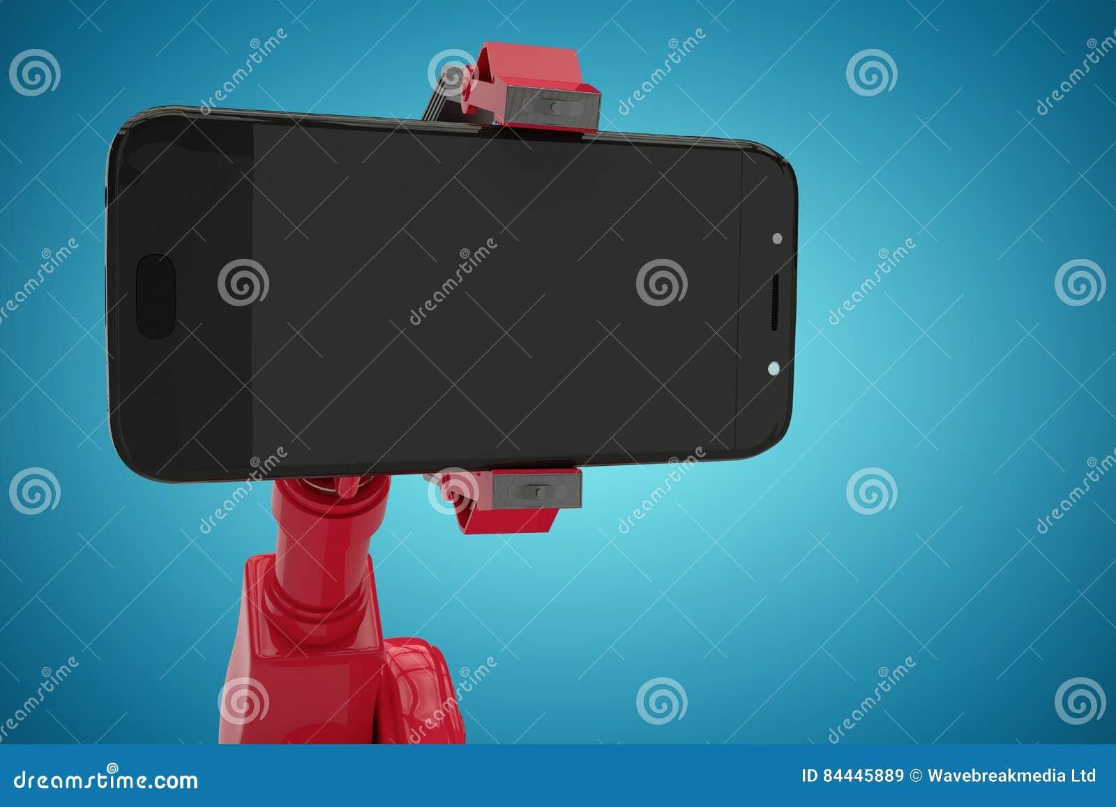 Złożony wizerunek złożony wizerunek pokazuje mądrze telefon 3d czerwony robot