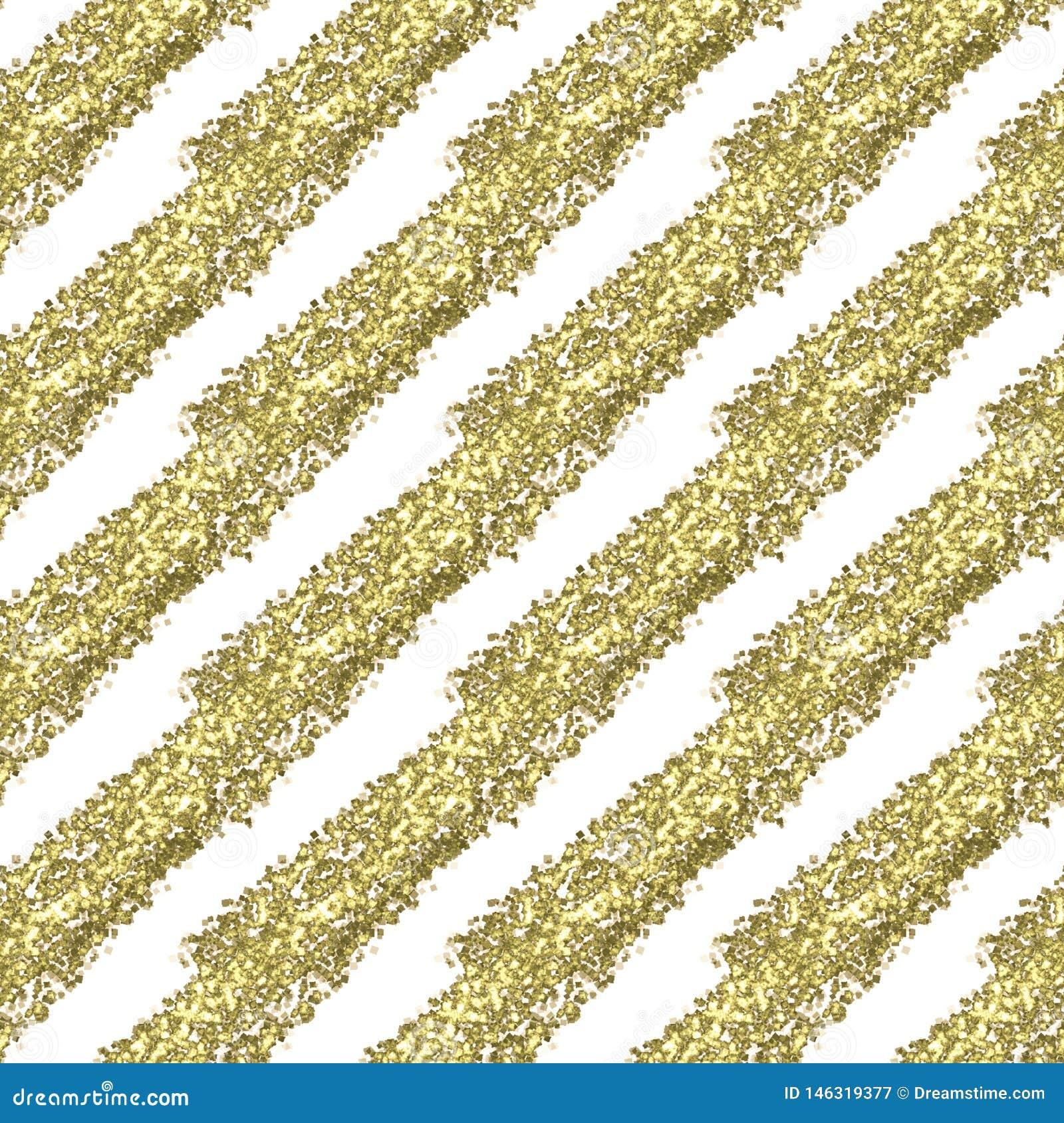 Złociści błyskotliwości przekątny lampasy na białym tle, bezszwowy niekończący się wzór