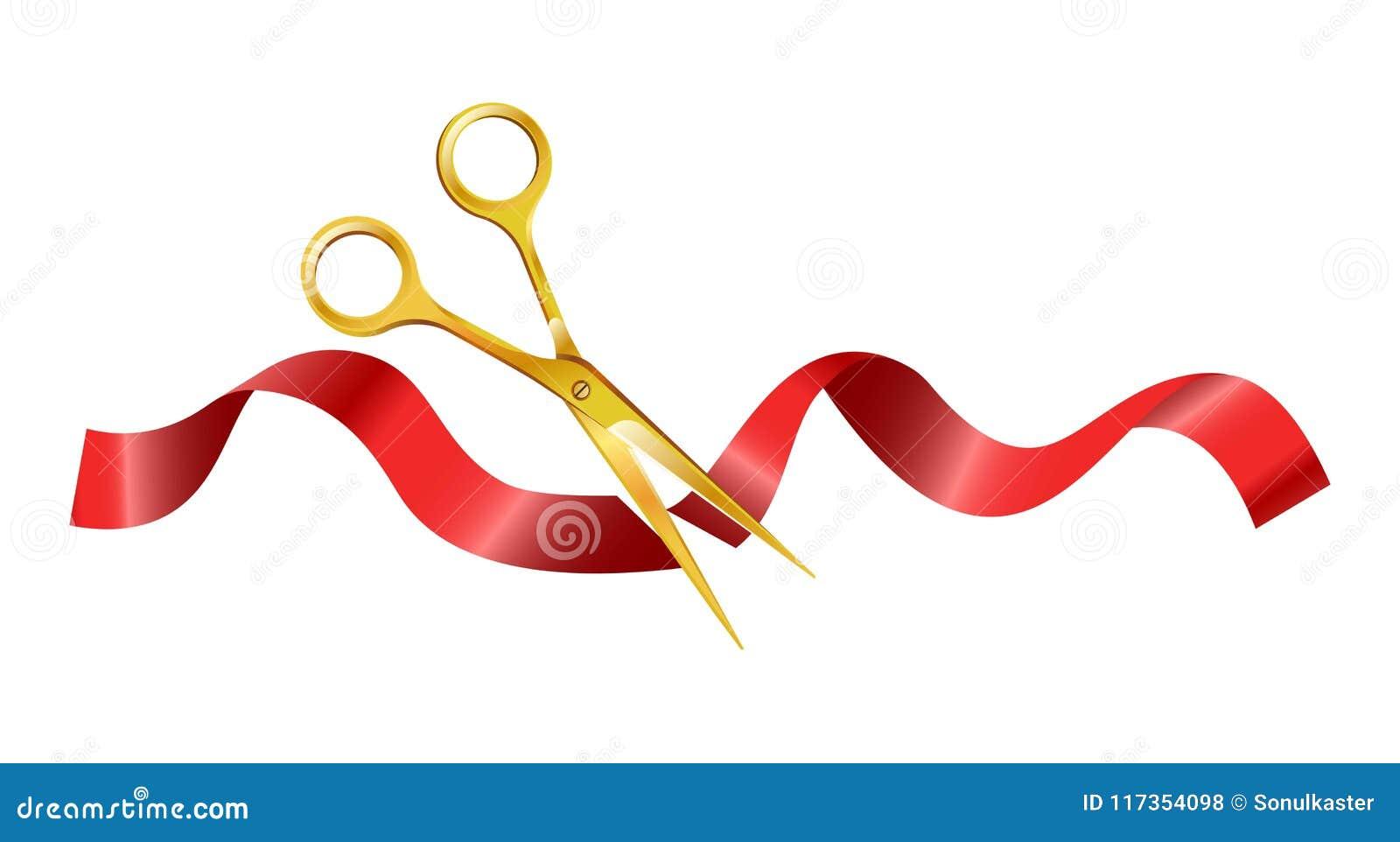 Złociści nożyce ten rżnięty ceremonialny czerwony jedwabniczy faborek