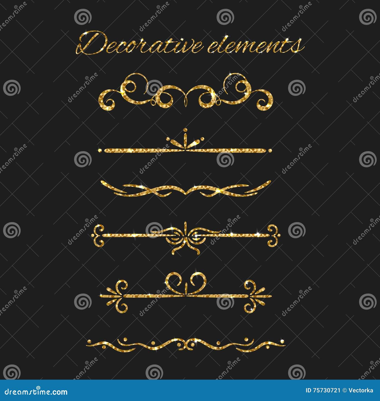 Złociści tekstów dividers ustawiający Ornamentacyjni Dekoracyjni elementy