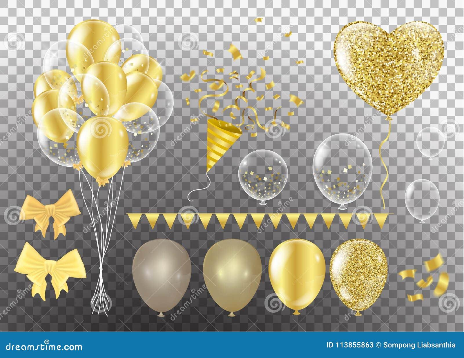 Złoci balony w formie serca na tle shap
