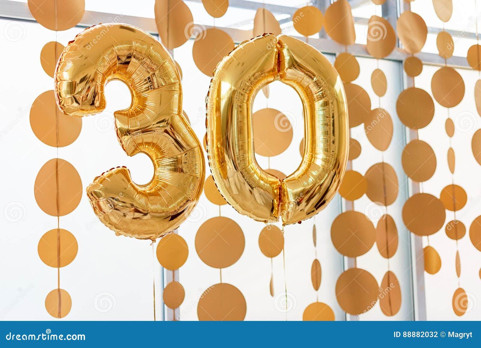 Złoci Balony Z Faborkami Liczba 30 Partyjna Dekoracja Rocznica