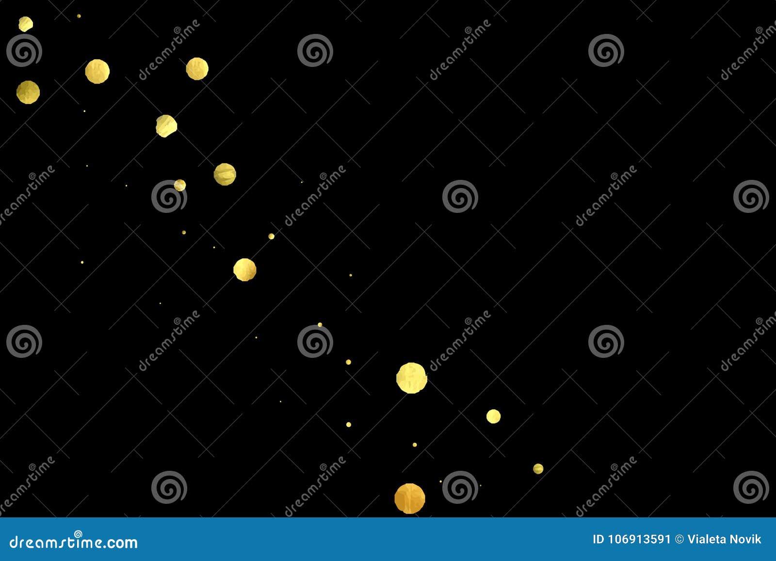 Złoci confetti odizolowywający na czarnym tle