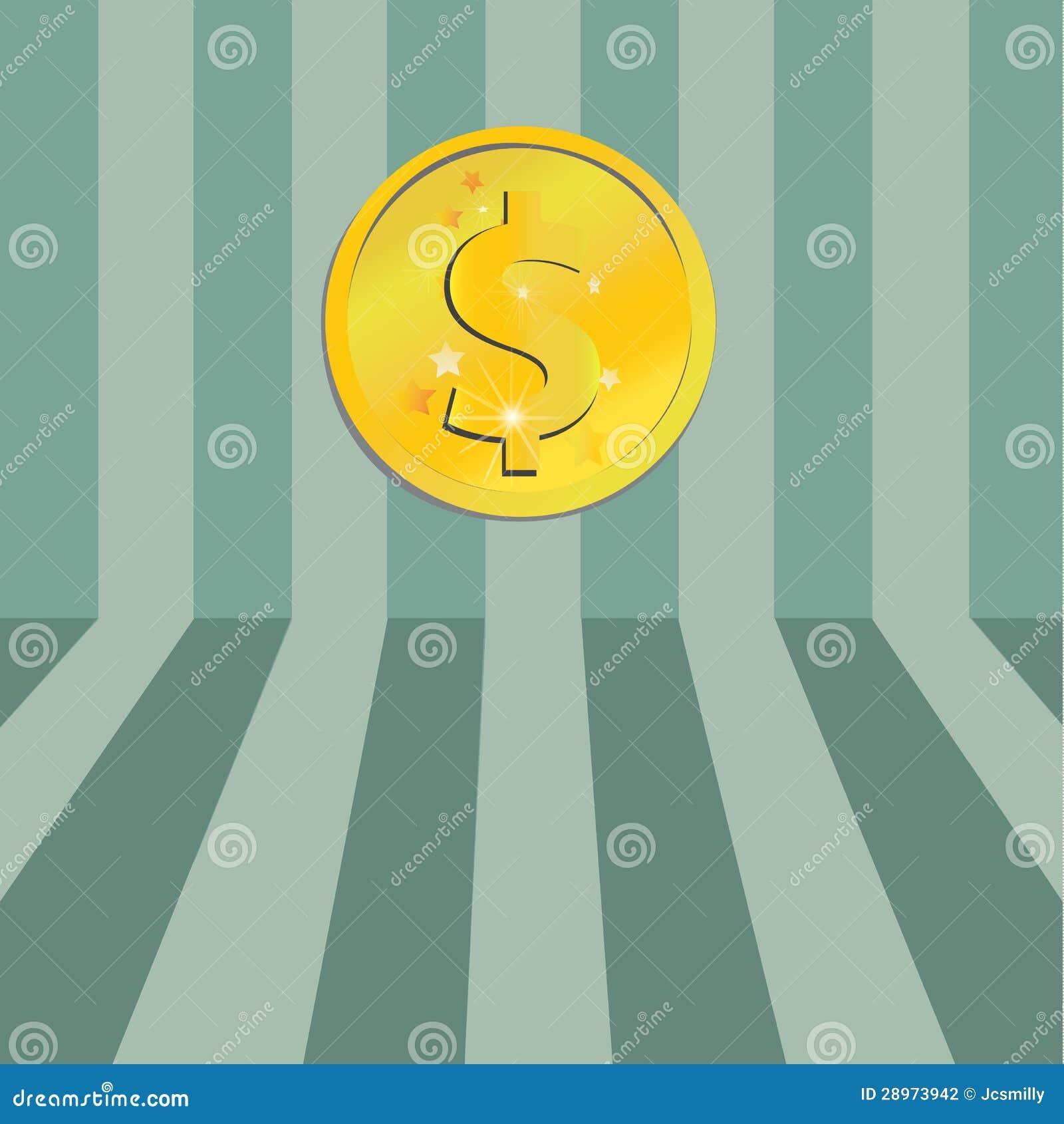 Złocista dolarowa ikona na zielonym lampasa tle.