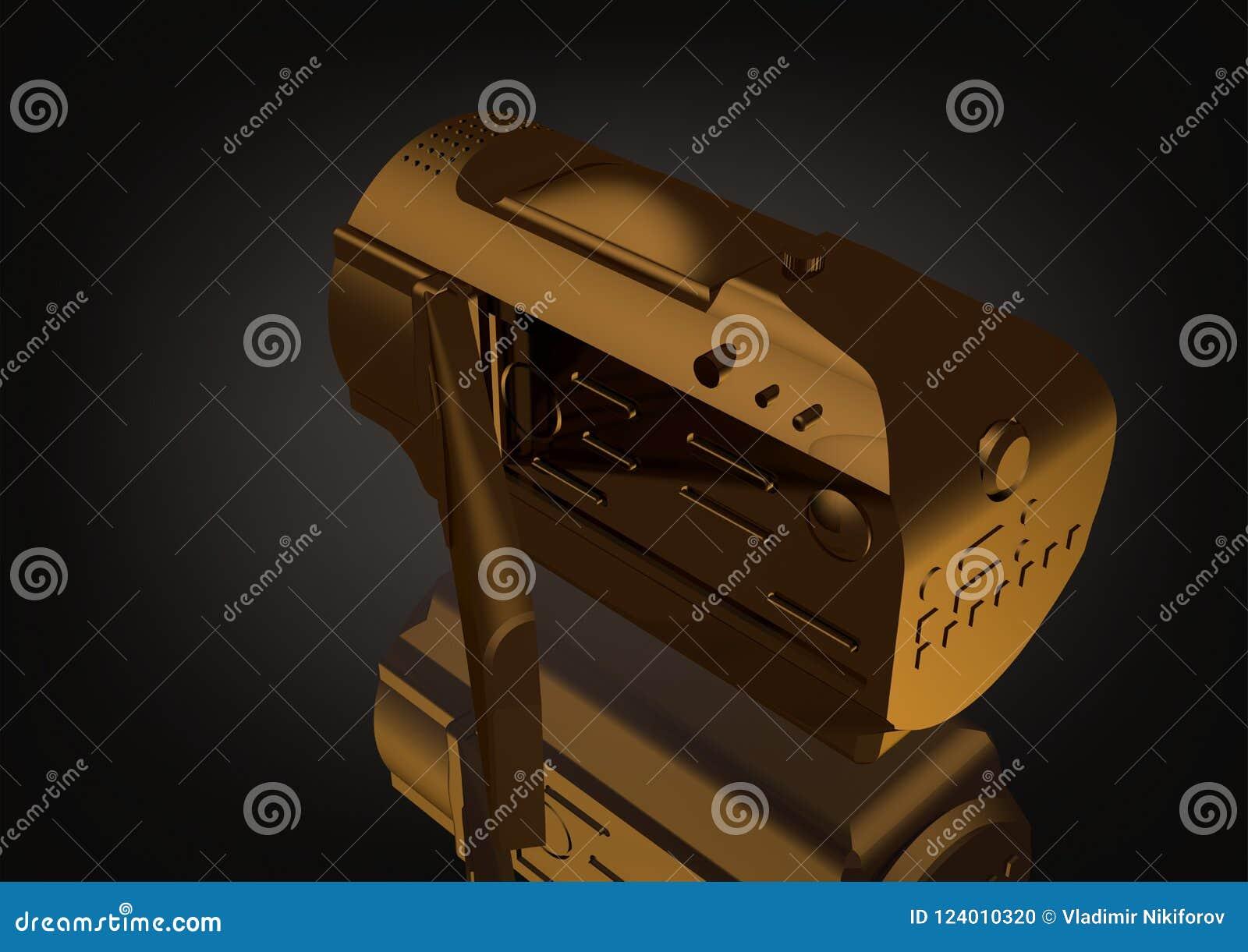 Złocista kamera na czerni