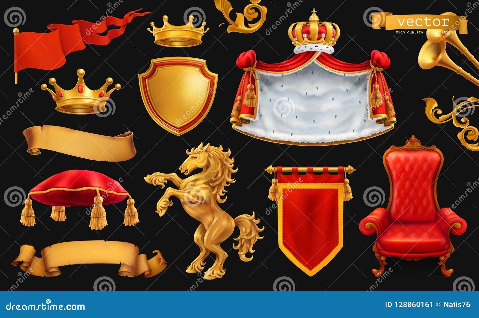 Złocista korona królewiątko Królewski krzesło, salopa, poduszka 3d wektorowa ikona ustawiająca na czerni