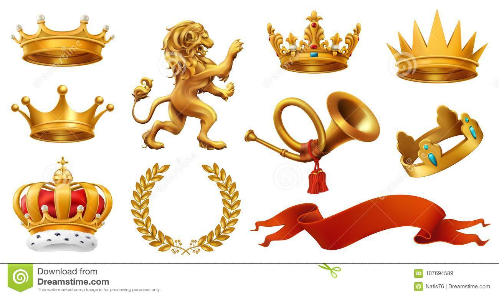 Złocista korona królewiątko Laurowy wianek, trąbka, lew, faborek kartonowe koloru ikony ustawiać oznaczają wektor trzy