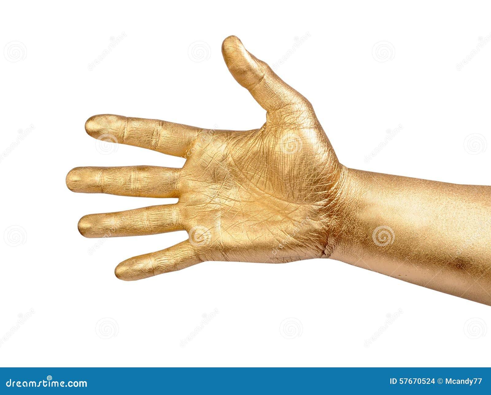 Złocista męska ręka w mile widziany gescie nad bielem