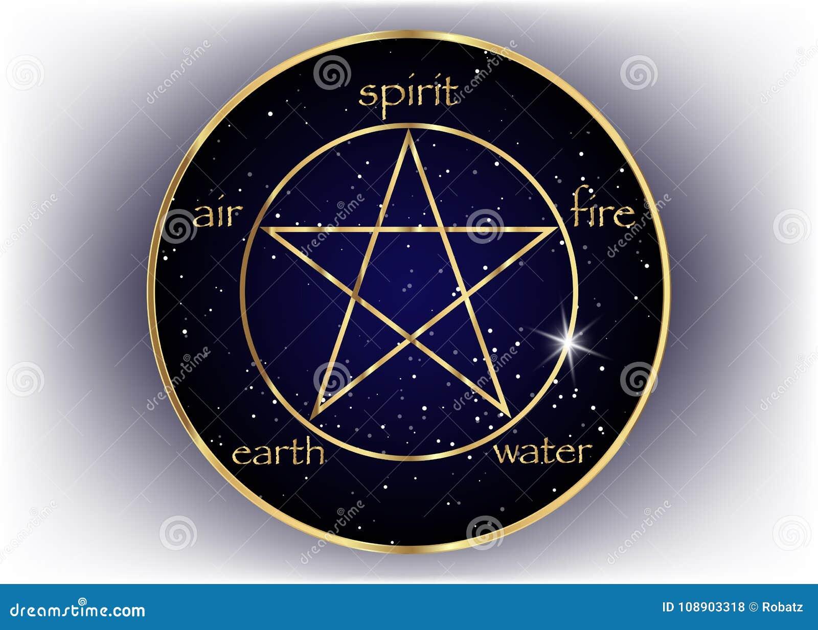 Złocista pentagram ikona z pięć elementami: Duch, powietrze, ziemia, ogień i woda, Złoty symbol alchemia i święta geometria