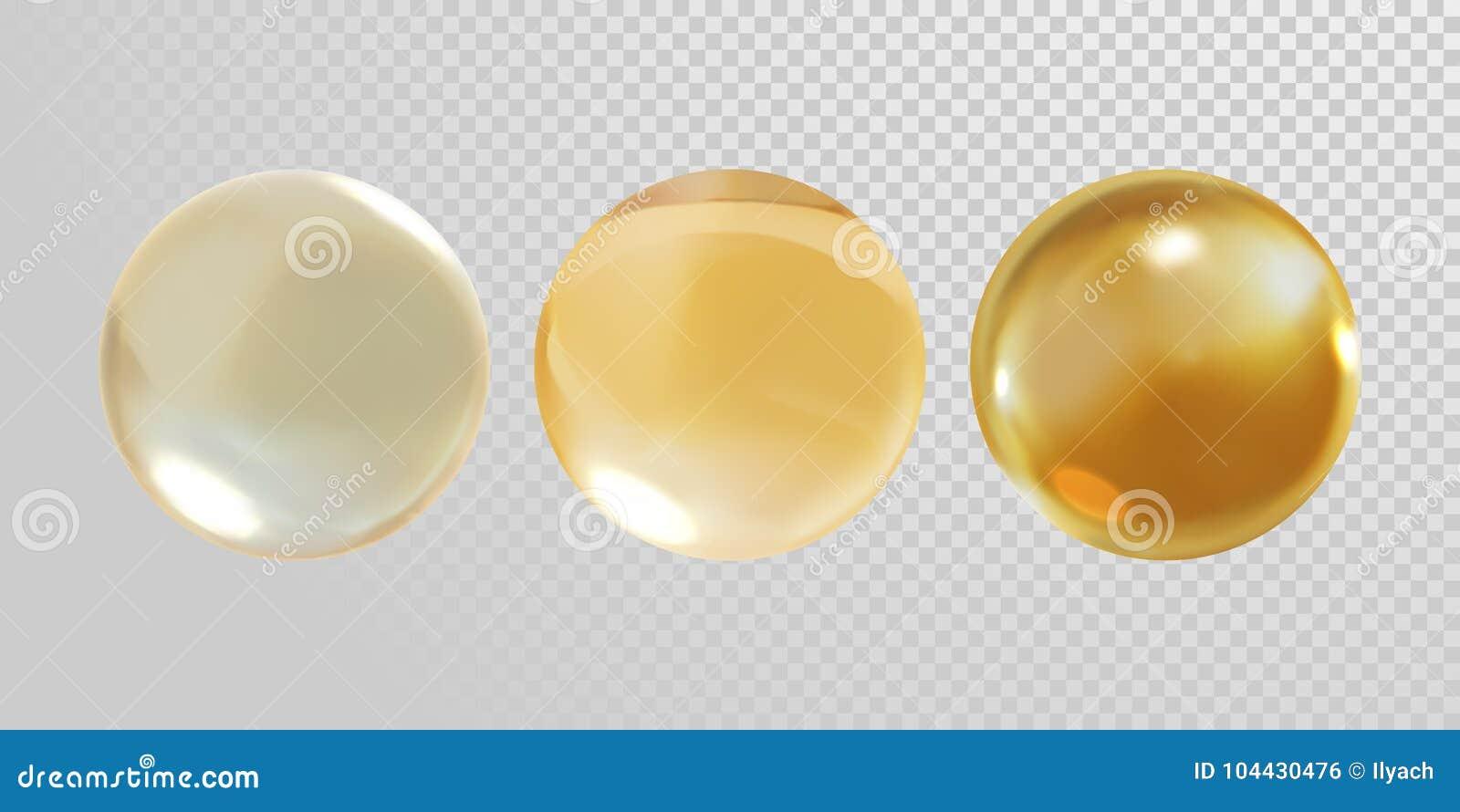 Złocista szklana piłka odizolowywająca na przejrzystym tle 3D złotego oleju witaminy E pigułki realistycznej wektorowej kapsuły s