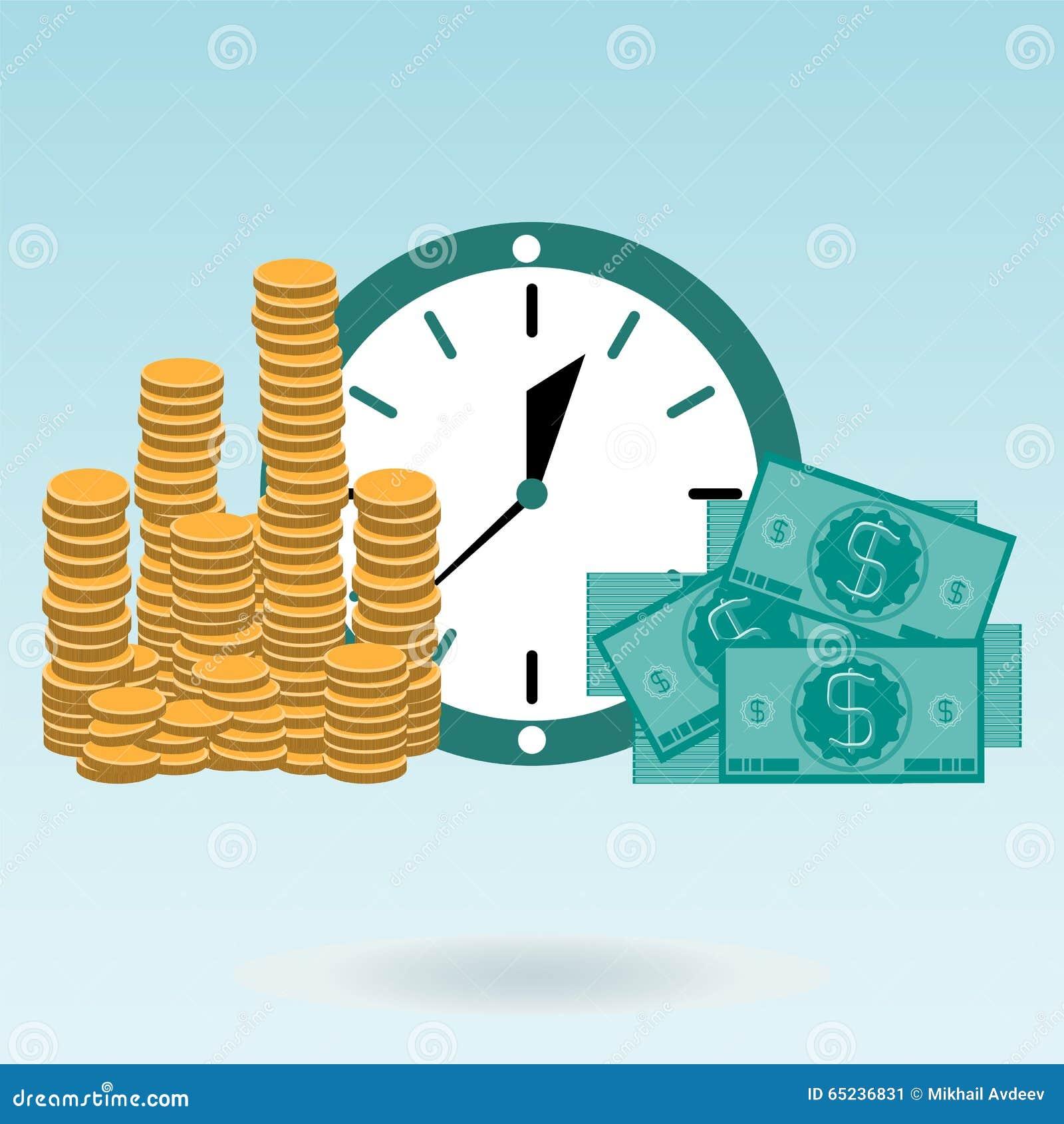 Złociste monety i dolarowi rachunki na zegarze