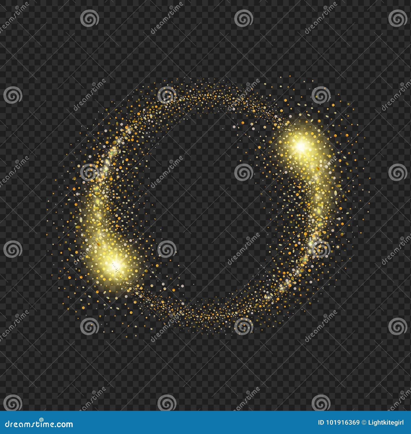 Złocisty błyskotliwy gwiazdowego pyłu okrąg na czarnym tle