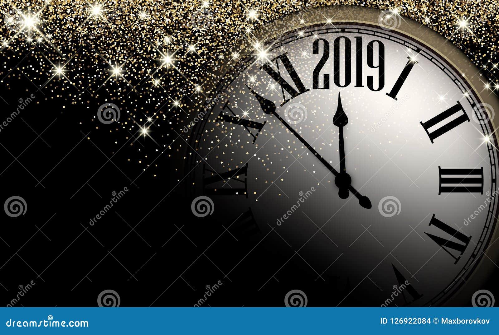 Złocisty błyszczący 2019 nowy rok tło z zegarem 2007 pozdrowienia karty szczęśliwych nowego roku