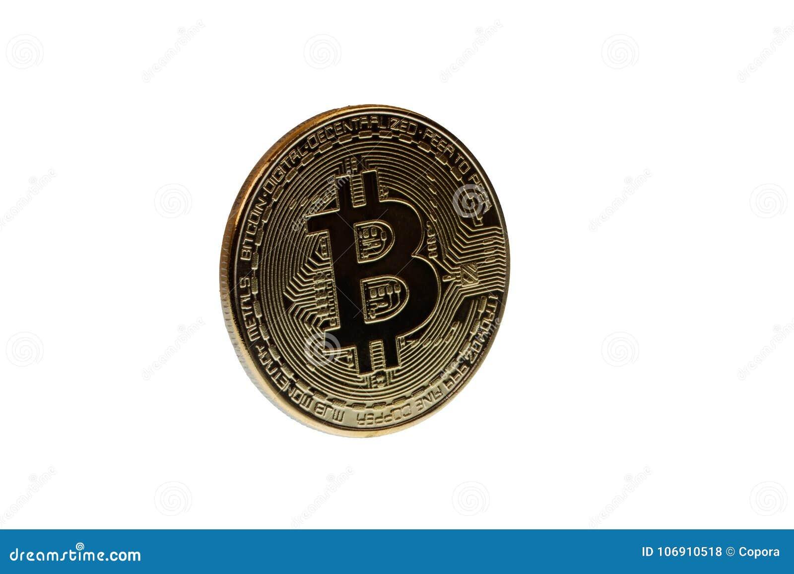 Złocisty bitcoin na białym tle