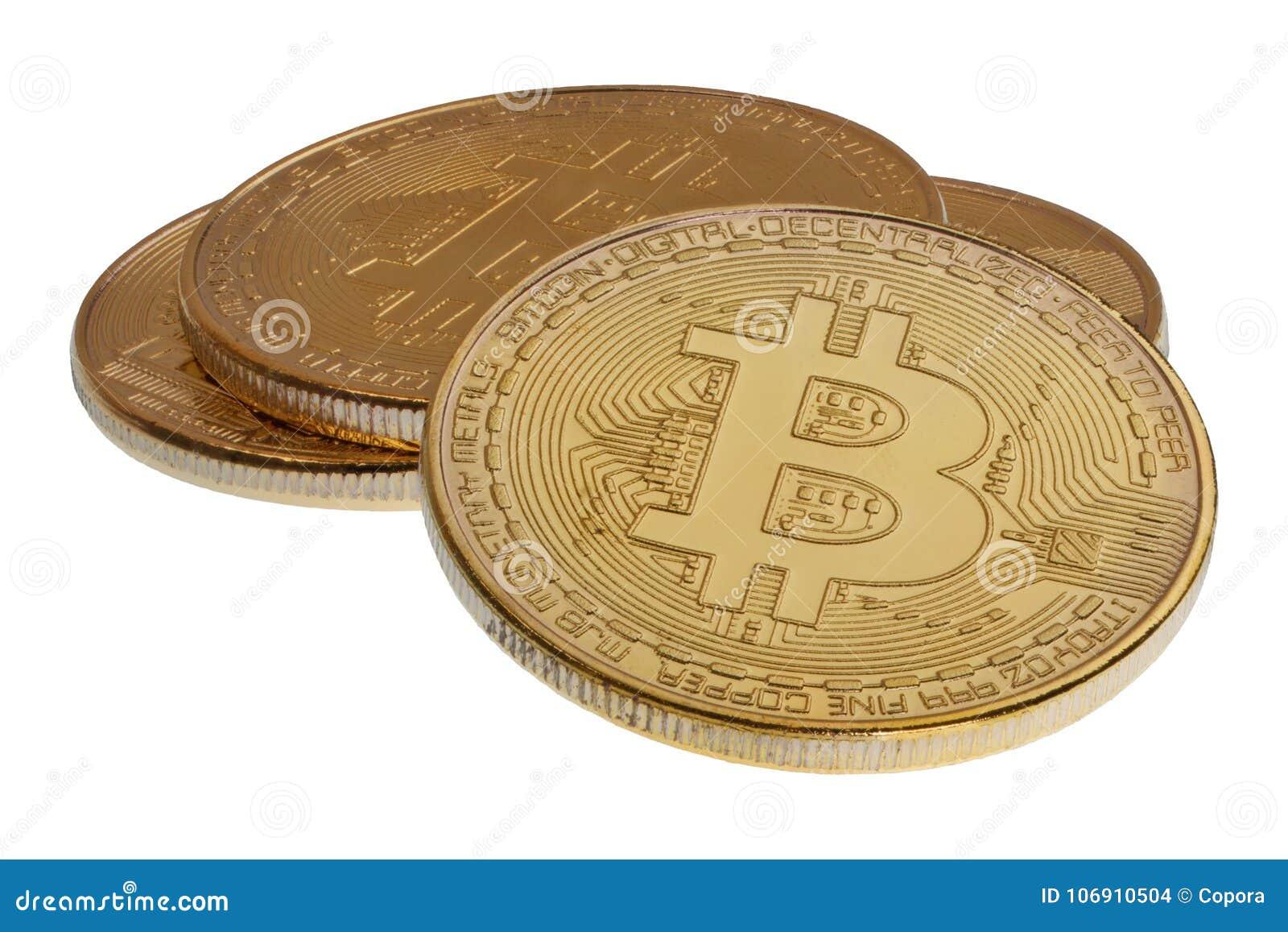 Złocisty Bitcoins na białym tle