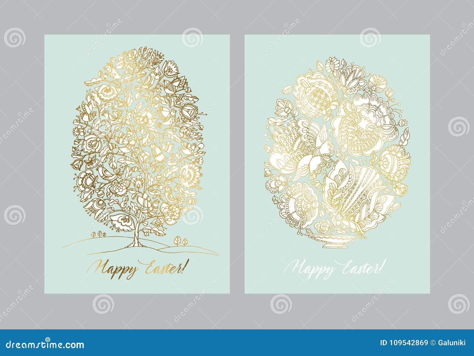 Złocisty Easter jajko z ludowym dekoracyjnym wzorem