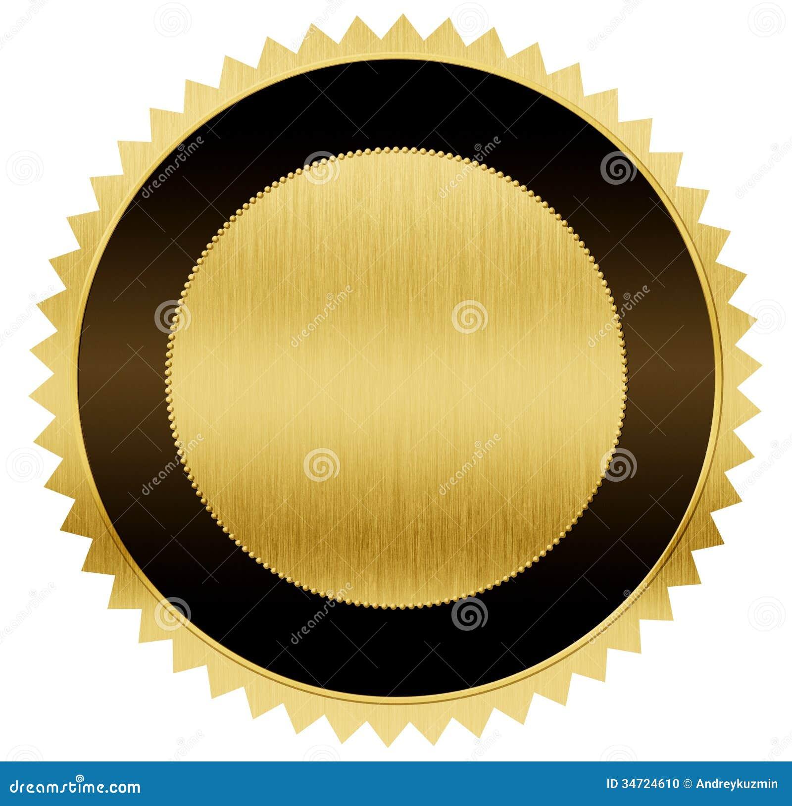 Złocisty i czarny medal z ścinek ścieżką