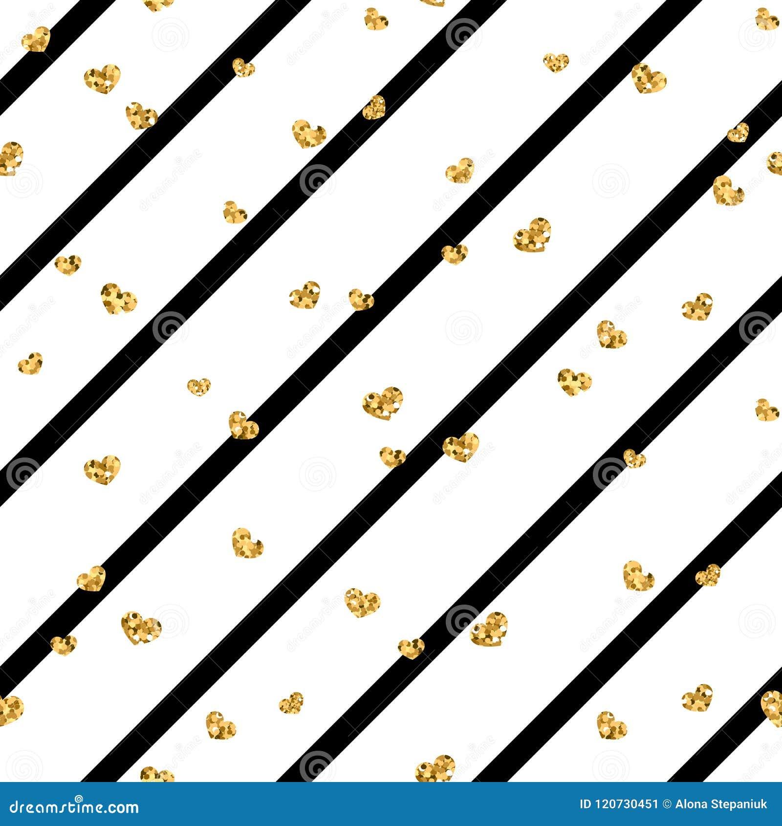 Złocisty kierowy bezszwowy wzór Biali geometryczni lampasy, złoci serca Symbol miłość, walentynki