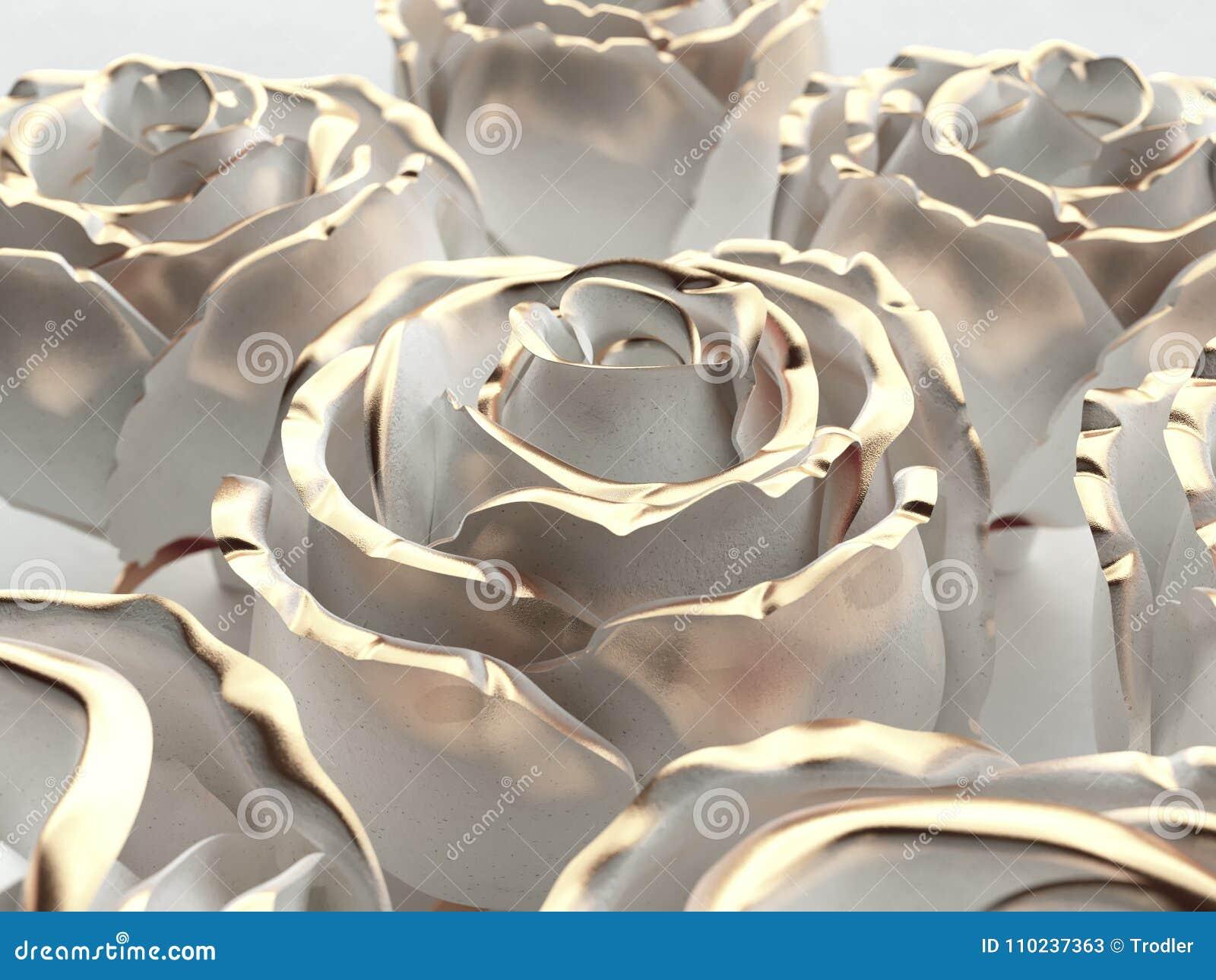 Złocisty kwiatu bielu kamień wzrastał na whitebackground 3 d czynią