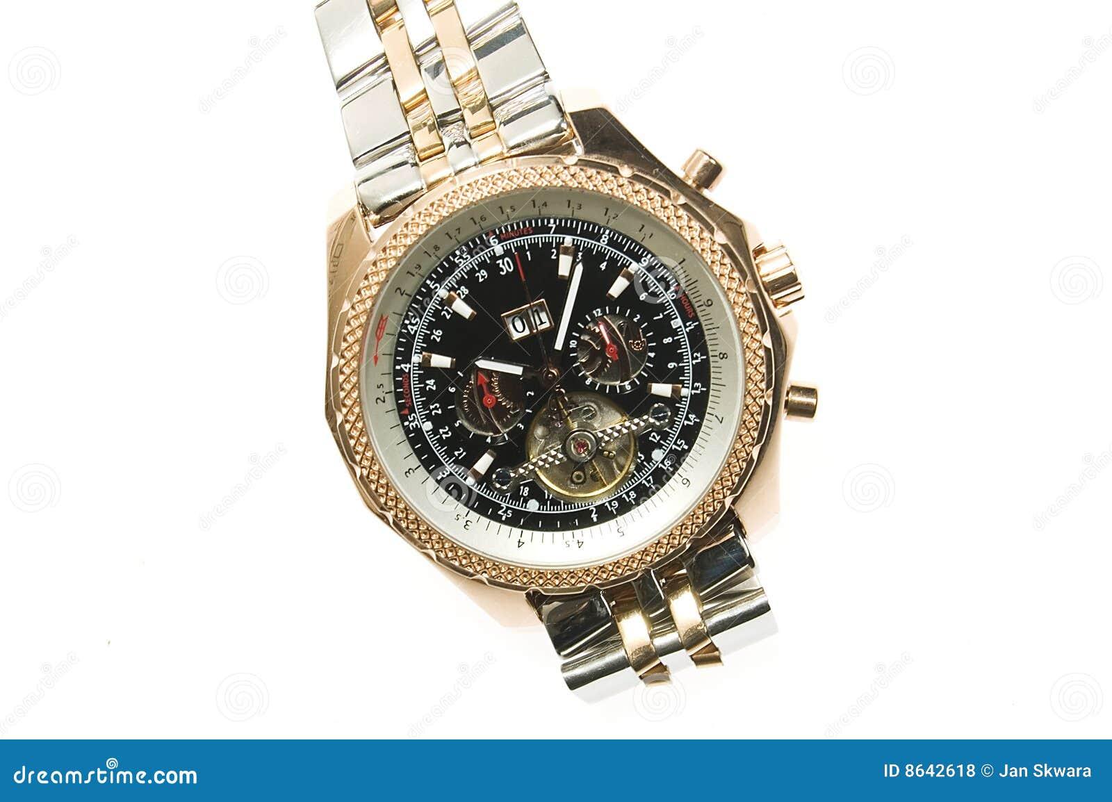 Złocisty luksusowy zegarek