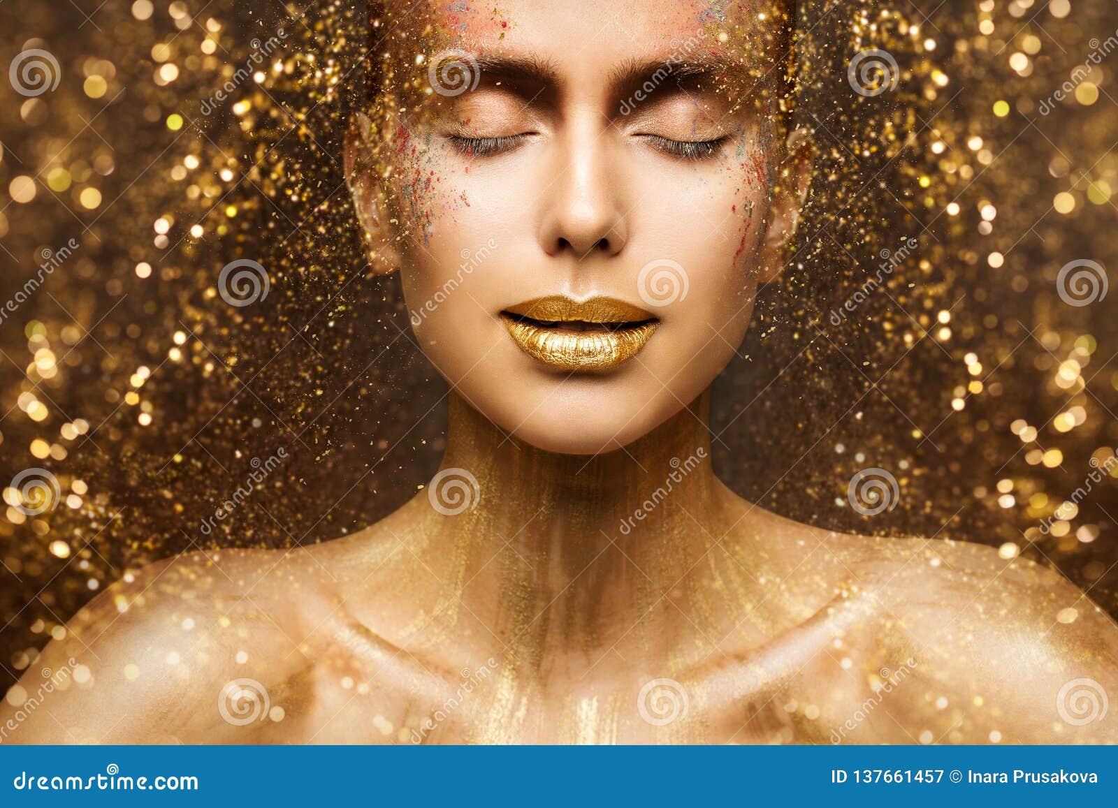 Złocisty mody Makeup, sztuki piękna twarz i wargi, Uzupełniamy w Złotym Błyskamy, kobieta sen