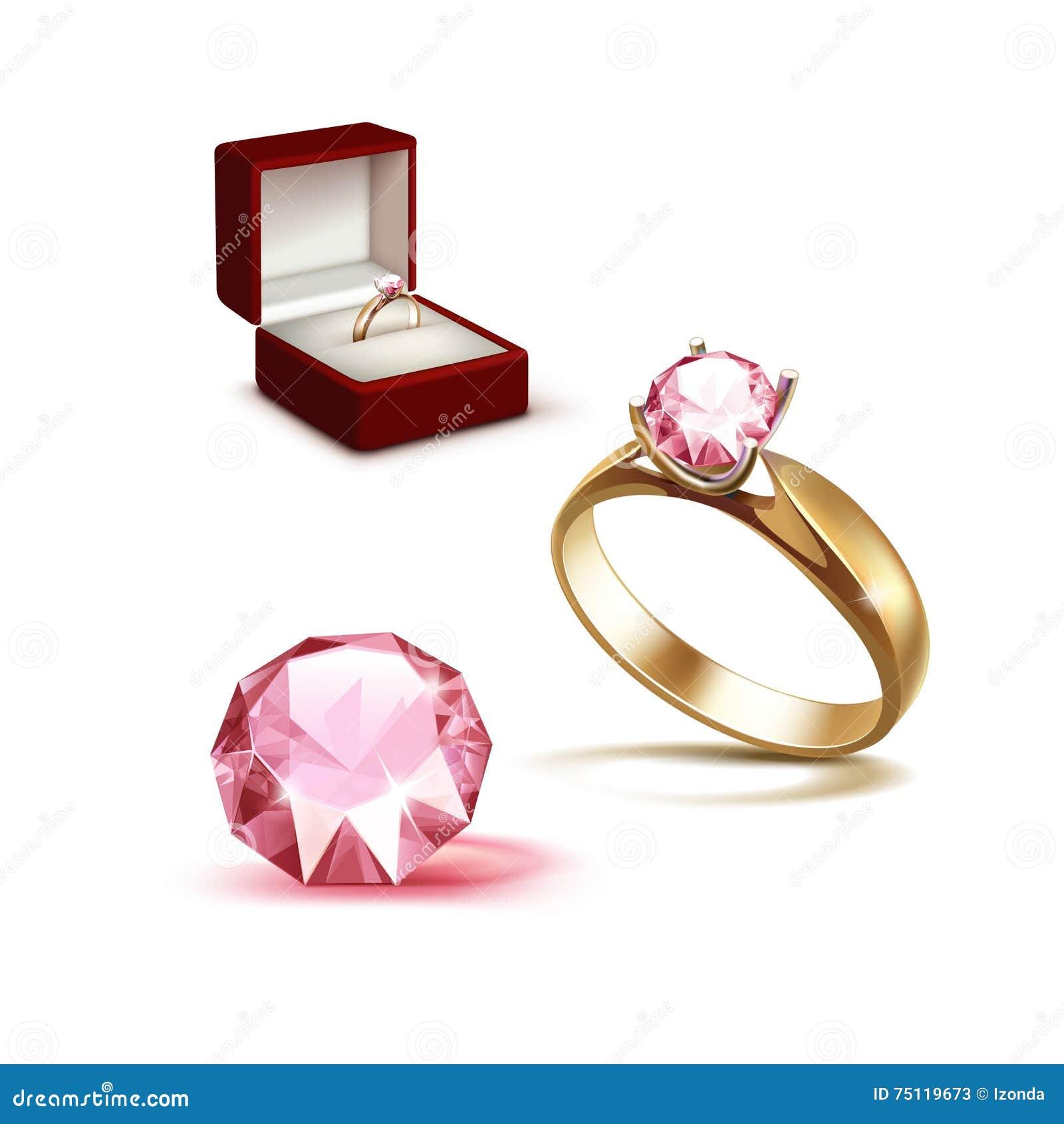 Złocisty Pierścionek Zaręczynowy Menchii Diament W Czerwonym