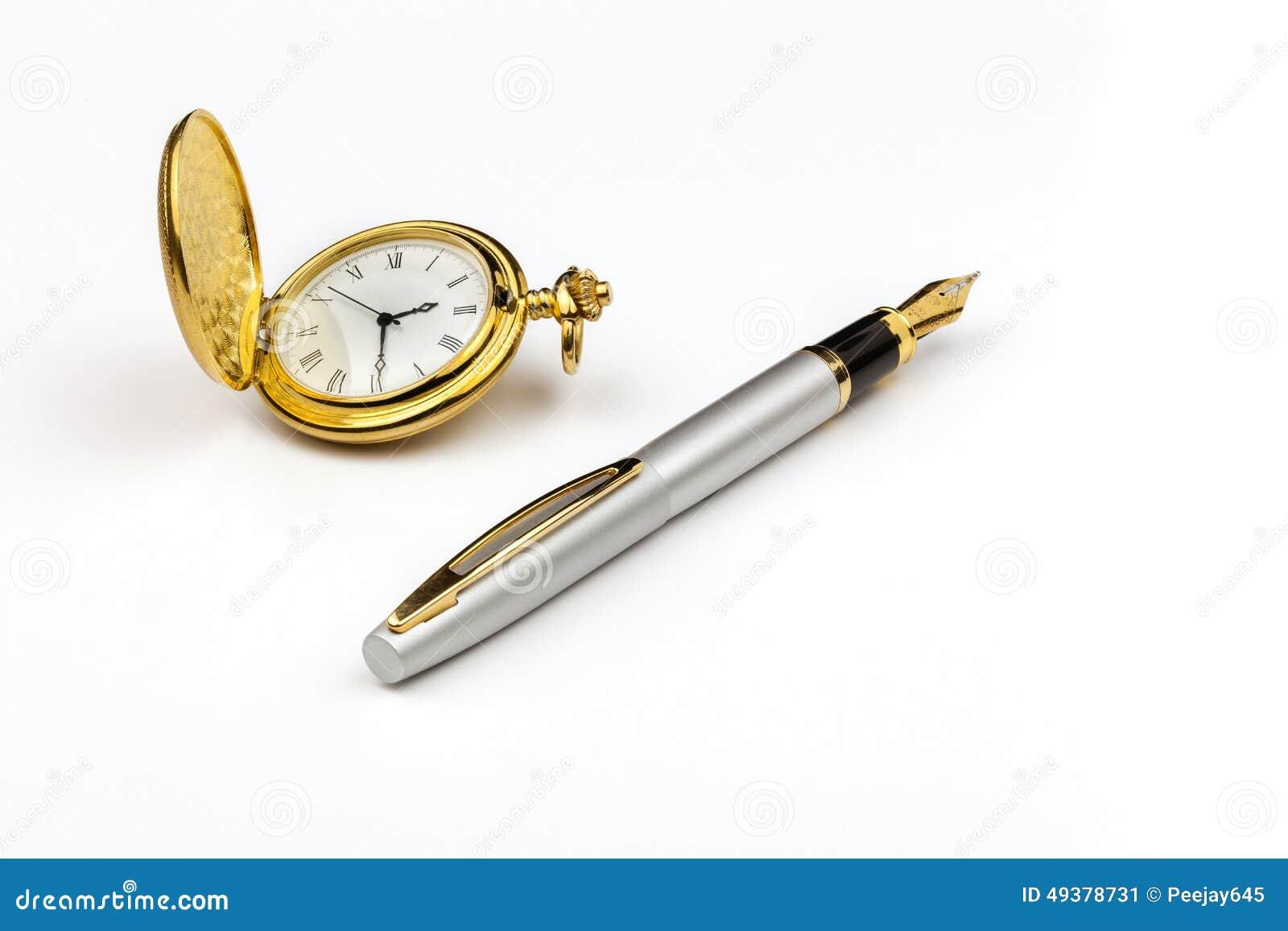 Złocisty zegarek i pióro
