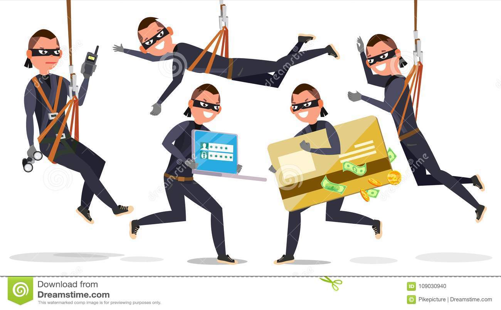 Złodziej, hackera mężczyzna Ustalony wektor Kraść Kredytowej karty informację, Osobiści dane, pieniądze Łowić ataka mieszkanie