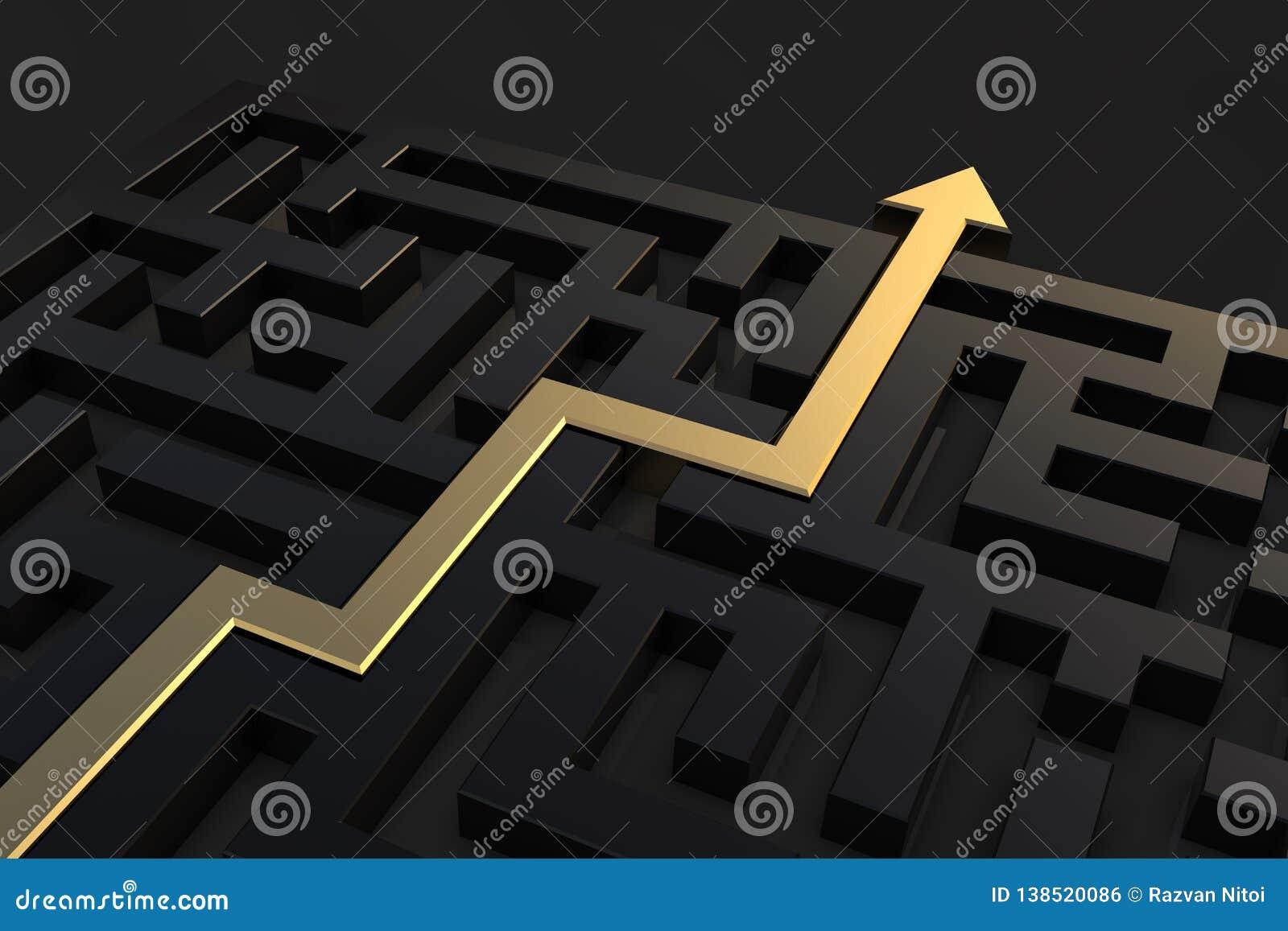 Złota ścieżka pokazuje sposób z labiryntu